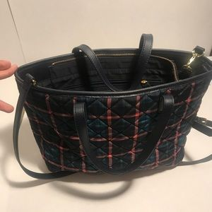 Talbots plaid tote with straps